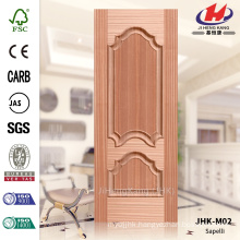 JHK-M02 Economic Evagination Rut Decorative Protrude Raised Line Turkmenistan Natural Sapelli MDF Moulded Storm Door Skin