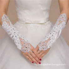 Fashion beading lace appliques bridal accessories high quality wedding lace gloves