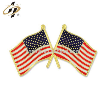 Custom zinc alloy hard enamel American flag lapel pins for souvenir