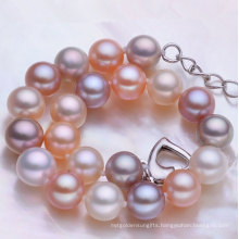 8-9mm Round Cultured Fresh Water Pearl Bracelet, High Quality