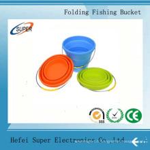 Seau de pliage de silicone d'outils de pêche pour le voyage de voiture et la pêche