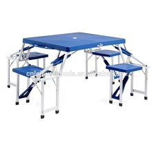 Plastic picnic folding camping table with aluminium frame
