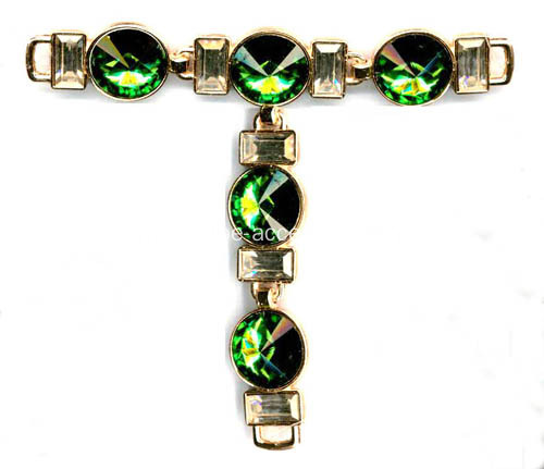 Vintage Sandal Chain with Green Stones Embellished