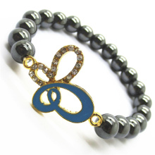 Pulsera Hematite 8MM Round Beads Stretch Gemstone con Diamante alloy butterflyPiece