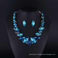 Ensemble de collier en alliage de zinc plaqué rhodium cristal saphir