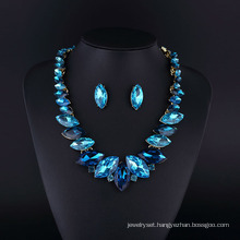 Sapphire Crystal Rhodium Plating Zinc Alloy Necklace Set