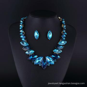 Sapphire Crystal Rhodium Plating Zinc Alloy Necklace Set