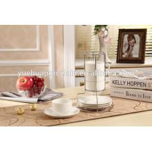 8pcs taza de café de porcelana blanca y salsa conjunto con rack de acero