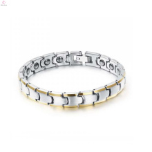 Pulsera magnética de la pulsera de tungsteno de alta pulido para los hombres joyas de oro chapado al por mayor