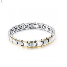 Haut poli Tungsten bracelet santé magnétique bracelet pour hommes plaqué or bijoux en gros