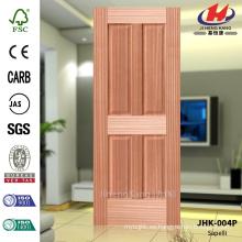 JHK-004P Acordeón de bajo precio 4 paneles planos América Apartamento Livingroom Madera Sapelli Veneer Piel de puerta natural