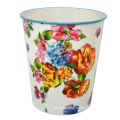 Round Plastic Flower Printed Open Top Dustbin (B06-2018-7)