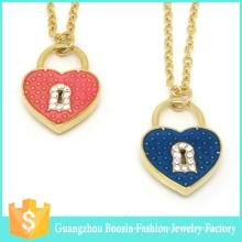 Dernier collier de charme de coeur de serrure plaqué or personnalisé pour les femmes