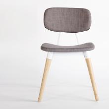 Home Furniture Fabric Chaises à manger avec jambes en bois
