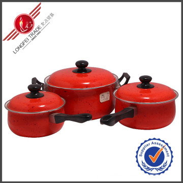3 PCS Red Decal Kitchenware Enamel Cookware Set