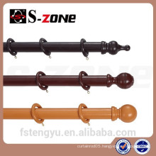 hang decorative wooden window curtain rods/poles/pipes for home decoration