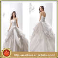 AN-17 Soft Crooked Neckline Ruffe Wedding Gown 2015 Custom Made Full Length High Quality Lace Applique Wedding Dress Bridal Gown