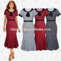 Las últimas señoras de impresión Wave Point mediados de la pantorrilla vestido indio de las mujeres Party Wear Midi lápiz vestido Casual Fishtail Dress mujeres