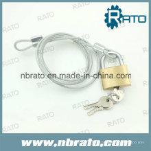 Candado de latón con cable de cable de acero