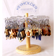 Attraktiver Arbeitsplatte Holz Basis Acryl Halter Edelstahl Schlüsselring Geschenk Basketball Schmuck Ring Stand