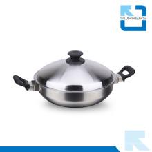 Grandes ollas de cocina de acero inoxidable Wok para la venta