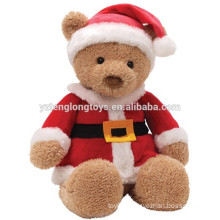 New arrival brown sitting bear wearing Christmas clothes