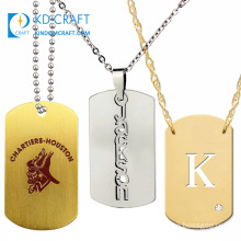 Wholesale Cheap Custom Blank Metal Aluminium Engraved Pendant Embossed Stainless Steel Army Military Dog Tag Necklace