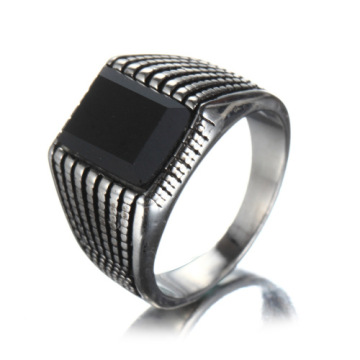 Antique Stainless Steel Men's Black Ring With Agate