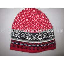 wool-acrylic blending jacquard knitted hat