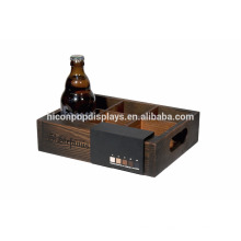 Branded 6-Bottle Drinks Display Countertop Ponto de venda Pequeno Retail Rústico Wooden Display Stand