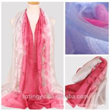 Nueva llegada color gradiente clip cordón bufanda algodón nylon flor diseño ombre bufanda china al por mayor