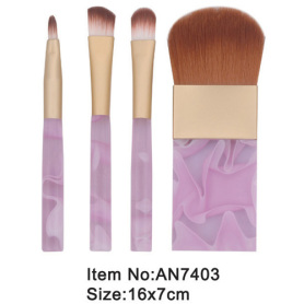 4pcs small print rose plastic handle animal/nylon hair cosmetic brush set