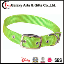 Único colar de cão de nylon do animal de estimação ajustável verde liso feito sob encomenda liso
