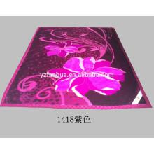 Soft Warm Purple Polyester Flower Printed Raschel Mink Bed Throw