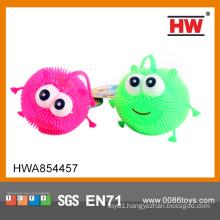 Funny flashing smile fluffy ball 5 inch 12pcs/box flashing puffer ball