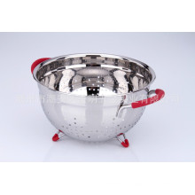 Accesorios de cocina de acero inoxidable Cesta de fruta de forma redonda con soporte y asas