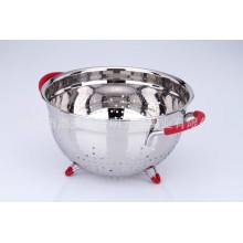 Panier de fruits de forme ronde d'accessoires de cuisine d'acier inoxydable avec le support et les poignées