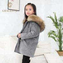 Buen proveedor de piel de niños real abrigo de lujo