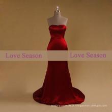 LSM002 Red sweetheart meninas vestido de formatura cintura natural com cetim de sereia cetim Borgonha Evening vestido de formatura