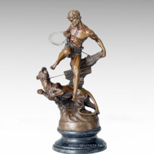 Soldados Figura Estatua Leopard Lady Escultura de Bronce TPE-206