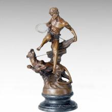 Статуэтка солдатская фигура леопард леди бронзовая скульптура TPE-206