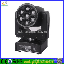 2016 vendas quentes Discoteca Discoteca DJ 7pcs 12W RGBW 4-IN-1 LED Zoom Sharp Beam Moving Head Light
