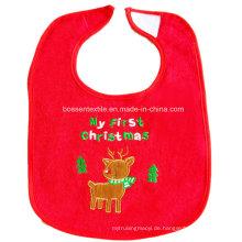 Werbeartikel nach Maß Cartoon Rotwild bestickte Baumwolle Rot Weihnachten Babylätzchen