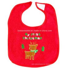 Babero rojo bordado ciervos de la historieta por encargo promocional del bebé de la Navidad del algodón