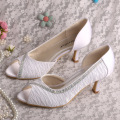 Wedopus Mid Heel Bridal Pumps Blanco