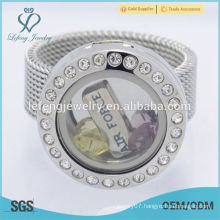 Wholesale stainless steel 20mm silver crystal memory floating glass charms locket rings