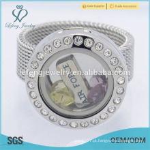 Atacado de aço inoxidável 20 milímetros de cristal de prata memória flutuante encantos de vidro anéis locket