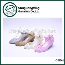 Botas de lluvia Botas de lluvia lindo de cristal Venta zapatos del estudiante impermeable con jalea Chilren B-01