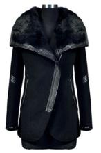 Hot Sale Winter Women Solid Black Turn-Down Collar Long Sleeve Wool Coat