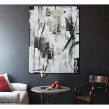 Black and White Abstract Canvas Painting